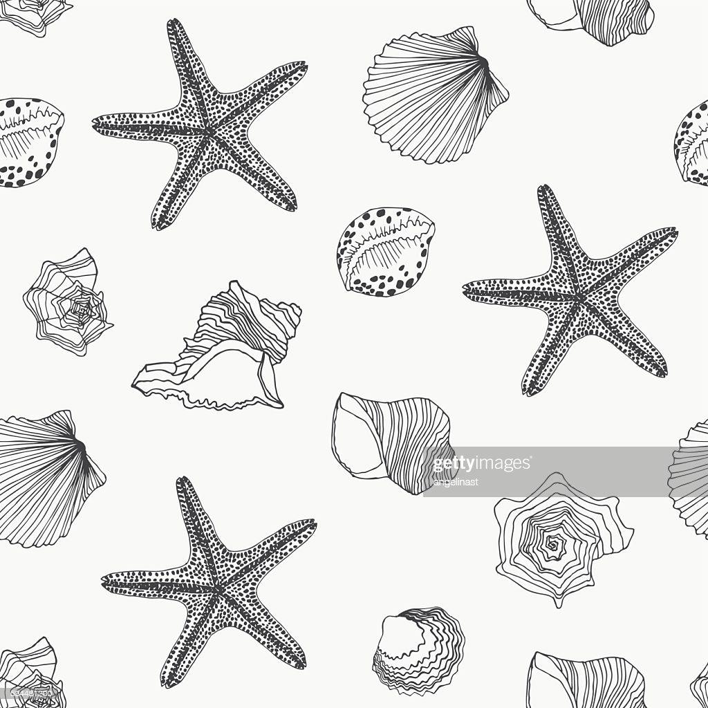 Shells seamless pattern