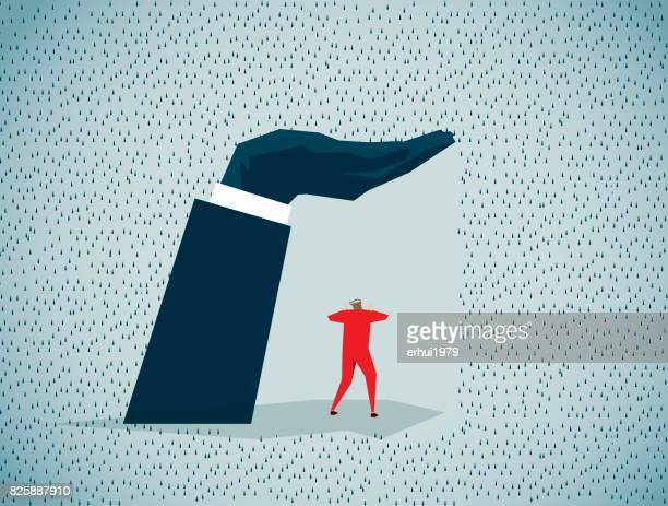 sheltering - storm stock illustrations