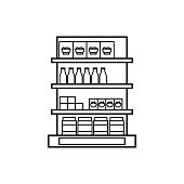 shelves in the grocery store icon. Hypermarket and goods for sale elements. Premium quality graphic design icon. Simple love icon for websites, web design, mobile app