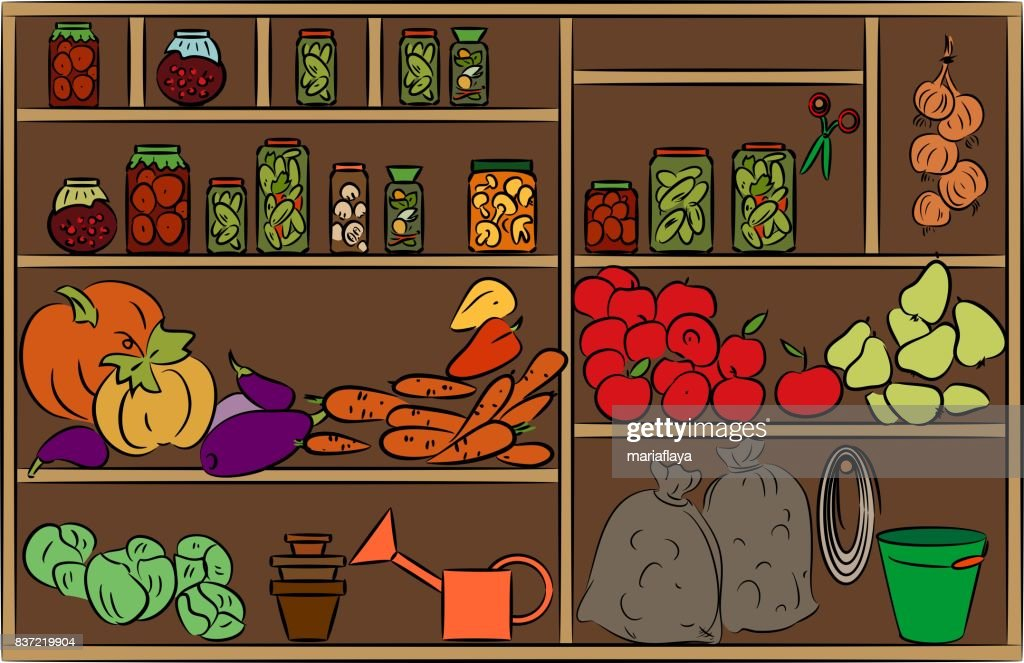 Shelves of canned goods and vegetables