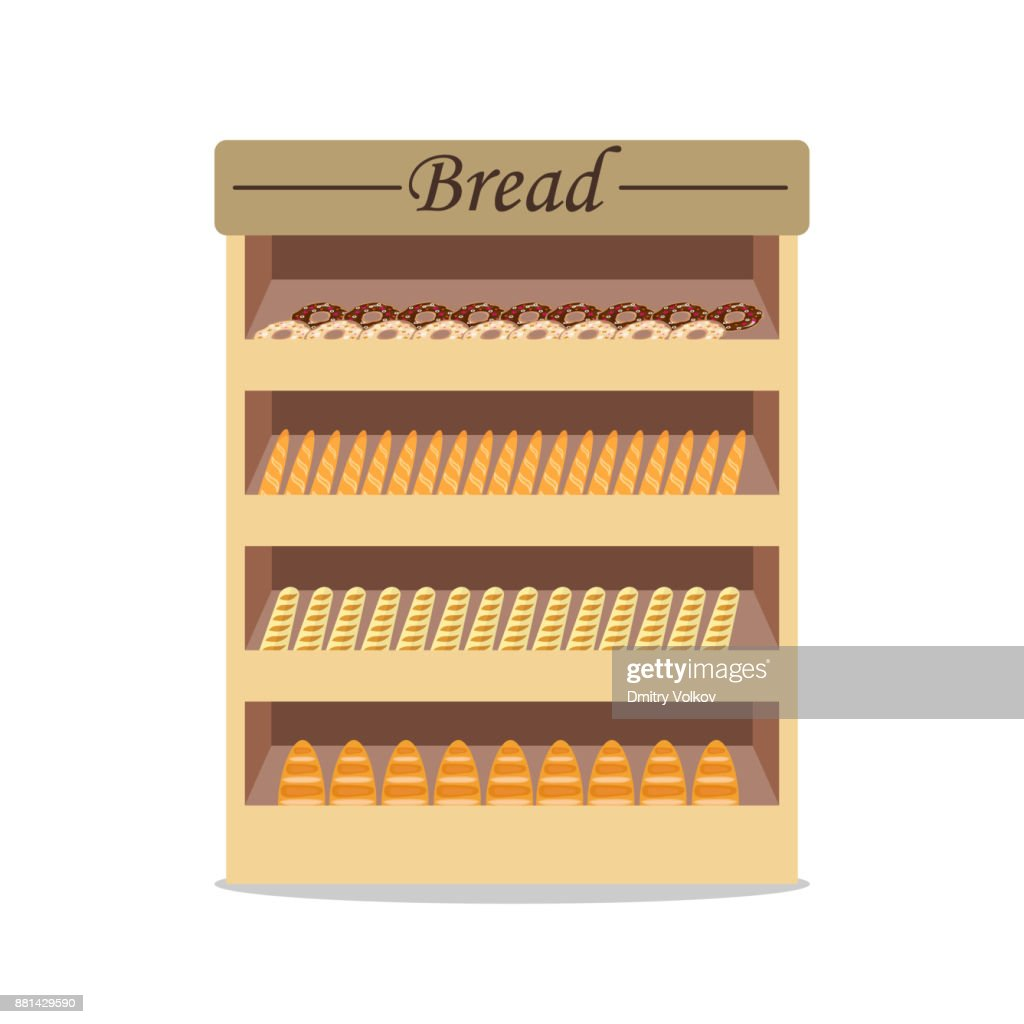 Shelves With Bread With Bread Shop Window With Bread Selling Bread ...