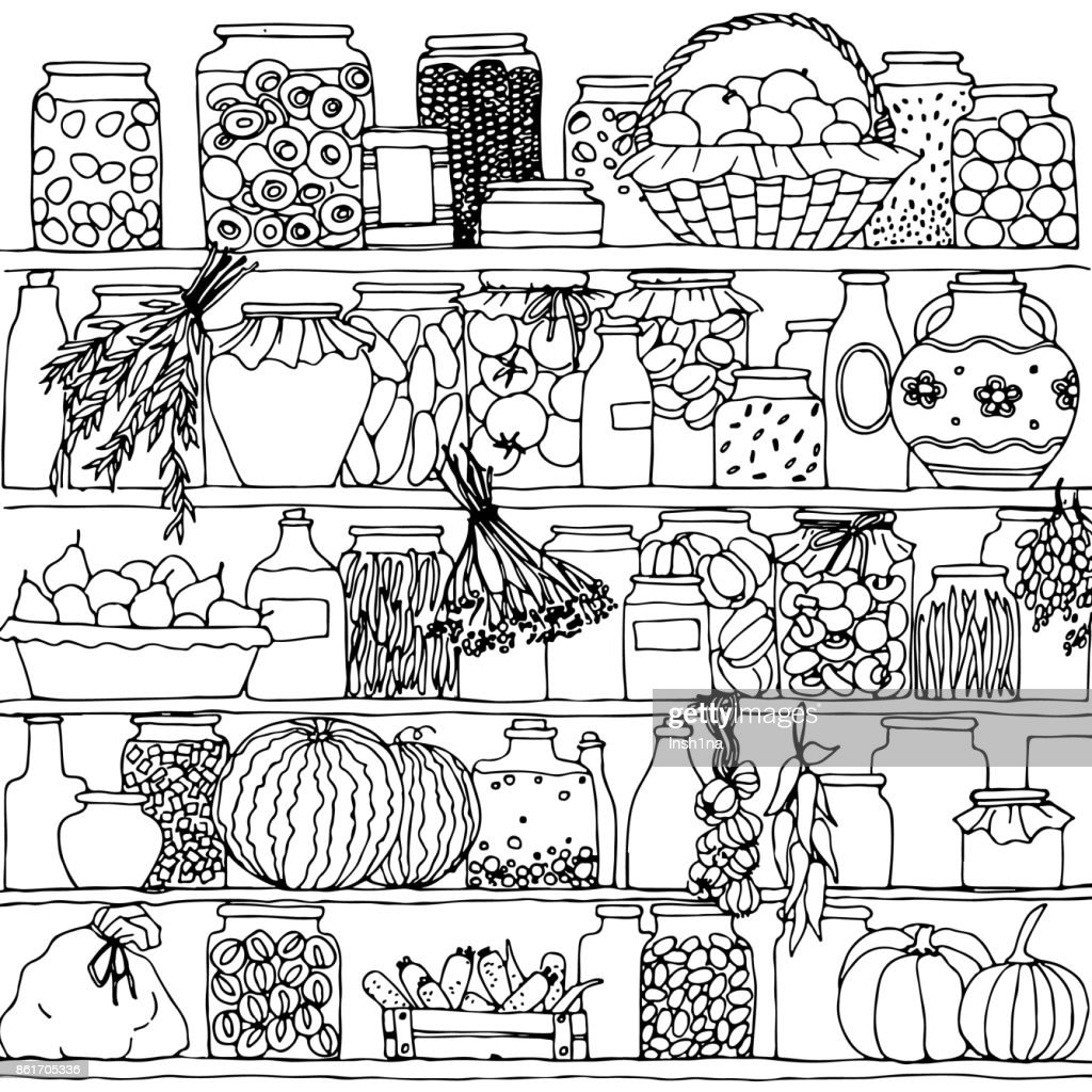 shelves with cans, hand drawn vector illustration