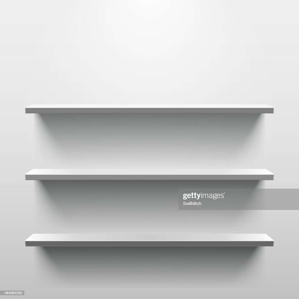 Shelves with shadow in empty white room