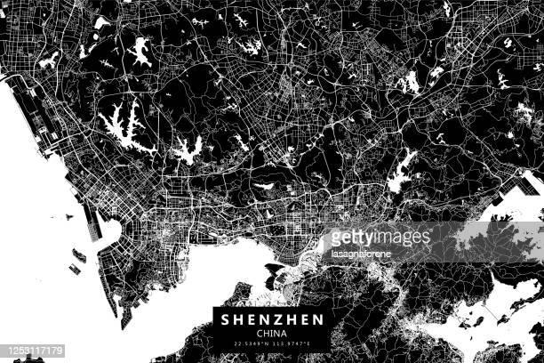 bildbanksillustrationer, clip art samt tecknat material och ikoner med shenzhen, kina vector karta - atp world tour