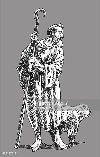 shepard with sheep - shepherd stock illustrations