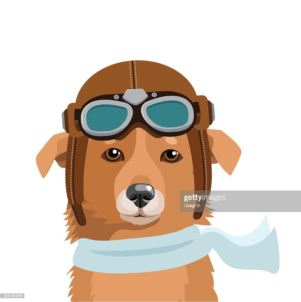 Shepherd Dog In Retro Pilot Hat. Fighter Pilot Helmet.
