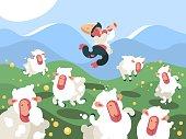 Shepherd grazes herd of sheep