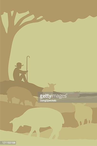 shepherd with flock of sheep - sheep stock illustrations, clip art, cartoons, & icons