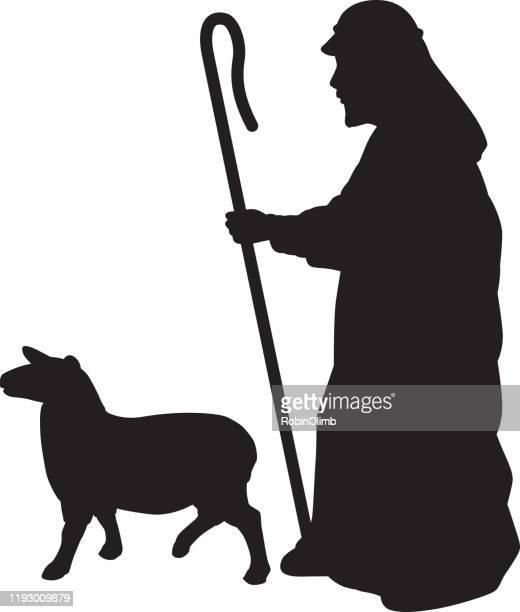 shepherd with sheep silhouette - shepherd stock illustrations