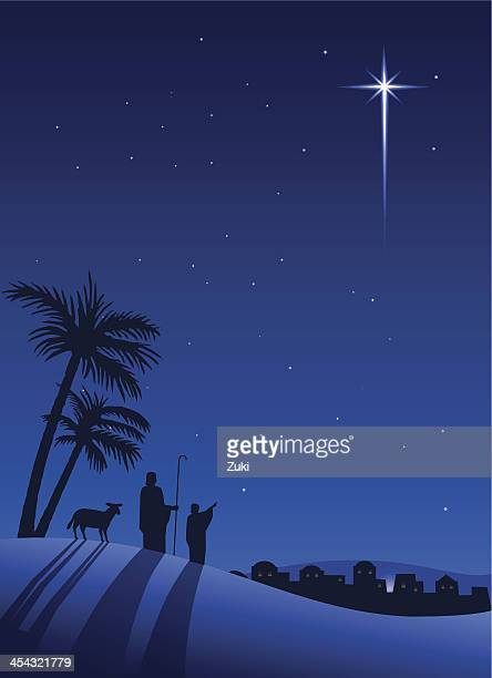 shepherds at night - nativity scene stock illustrations