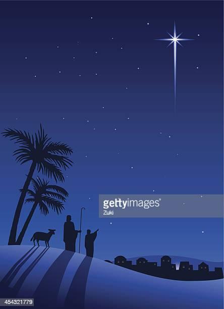 shepherds at night - shepherd stock illustrations