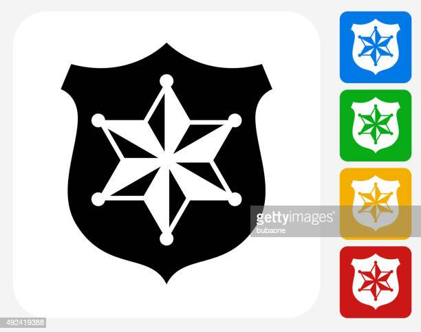 Sheriff Badge Icon Flat Graphic Design