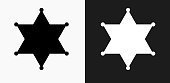 Sheriff Badge Icon on Black and White Vector Backgrounds