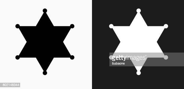 sheriff badge icon on black and white vector backgrounds - sheriff stock illustrations