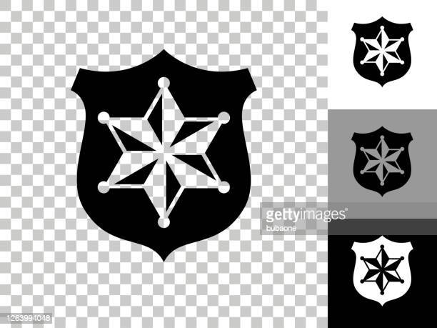 sheriff badge icon on checkerboard transparent background - sheriff stock illustrations