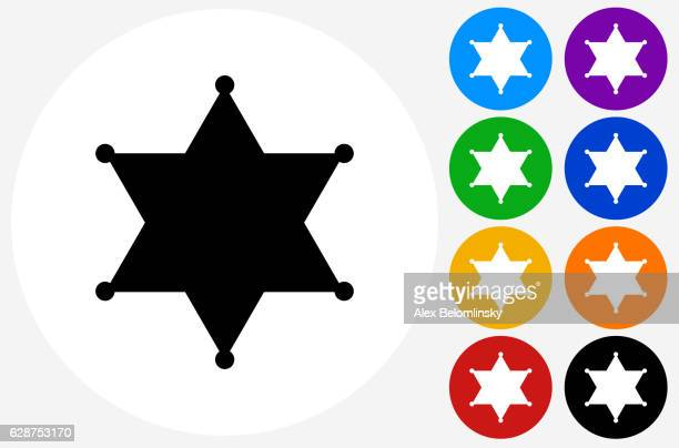 Sheriff Badge Icon on Flat Color Circle Buttons