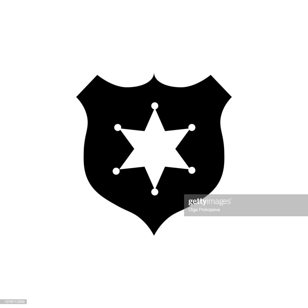Sheriff badge with star icon vector, filled flat sign, solid pictogram isolated on white. Public safety symbol, logo illustration