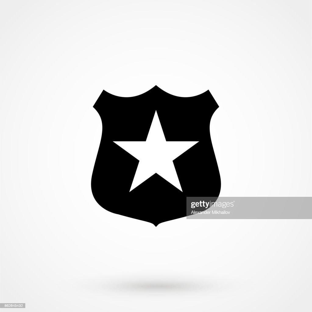 Sheriff badge with star icon vector, filled flat sign, solid pictogram isolated on white. Public safety symbol, symbol illustration