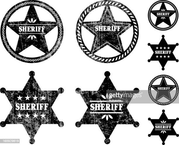 sheriff badges black and white royalty free vector icon set - sheriff stock illustrations