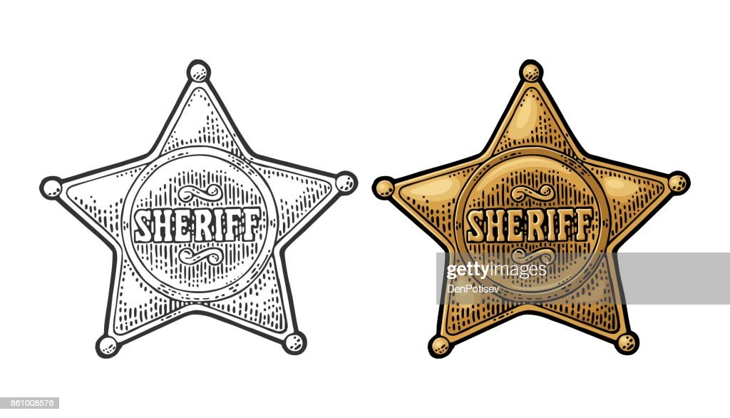 Sheriff star. Vintage black and color vector engraving