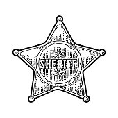 Sheriff star. Vintage black vector engraving illustration