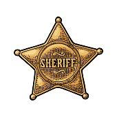 Sheriff star. Vintage color vector engraving illustration