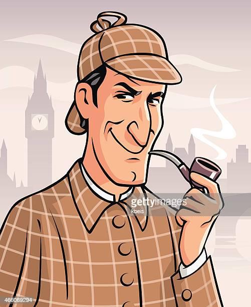 sherlock holmes in london - british culture stock illustrations