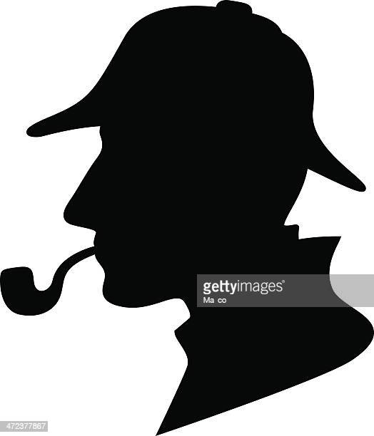 sherlock holmes silhouette / detective symbol - detective stock illustrations