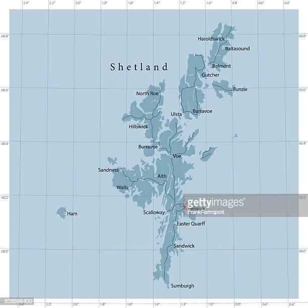 illustrazioni stock, clip art, cartoni animati e icone di tendenza di isole shetland vettoriale mappa stradale - isole shetland