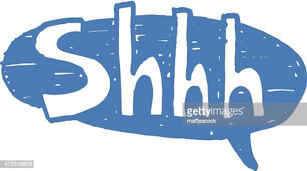 shhh speech bubble - finger on lips stock illustrations
