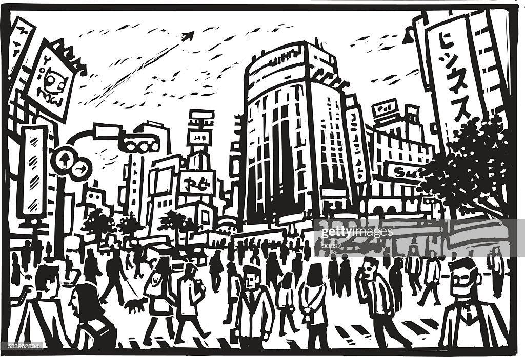Shibuya Crossing : stock illustration