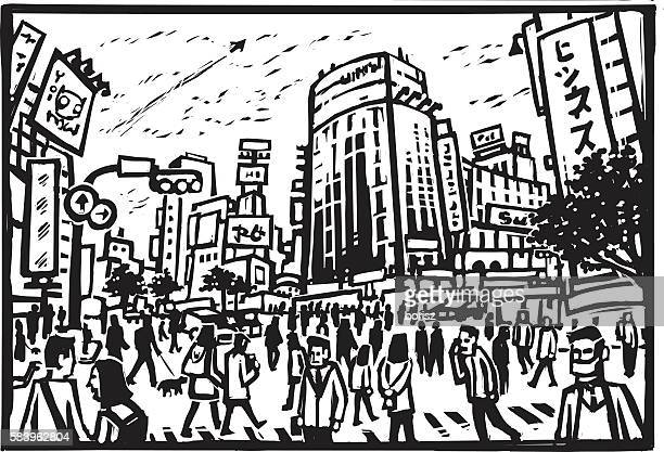 shibuya crossing - tokyo japan stock illustrations, clip art, cartoons, & icons