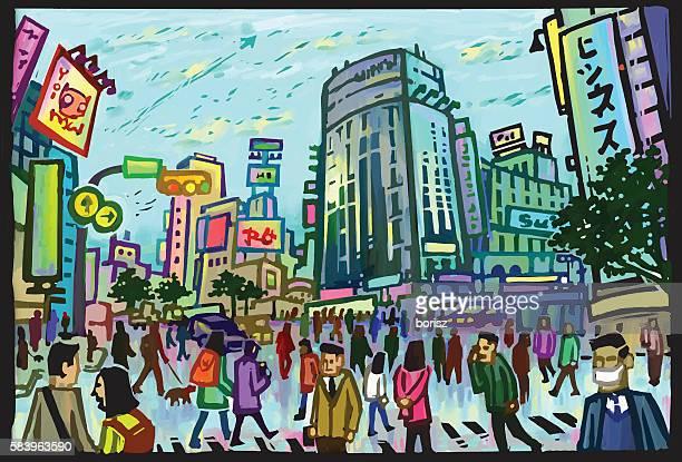 渋谷スクランブル交差点 - 混雑した点のイラスト素材/クリップアート素材/マンガ素材/アイコン素材
