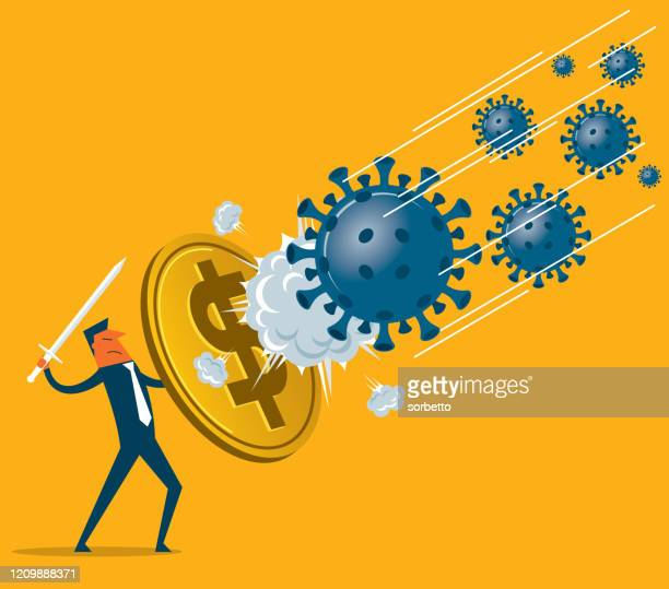 shield against coronavirus - dollar symbol - crisis stock illustrations