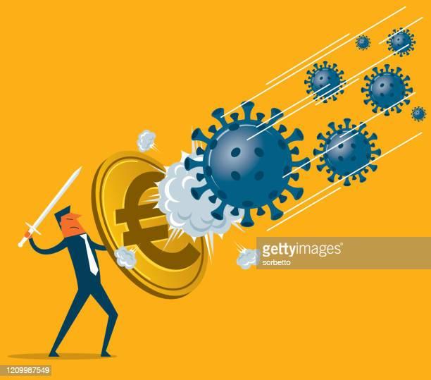 illustrazioni stock, clip art, cartoni animati e icone di tendenza di shield against coronavirus - euro symbol - la comunità europea