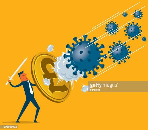 shield against coronavirus - pound symbol - financial advisor stock illustrations