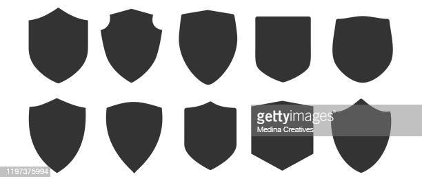 shield and emblem shape collections - shield stock illustrations