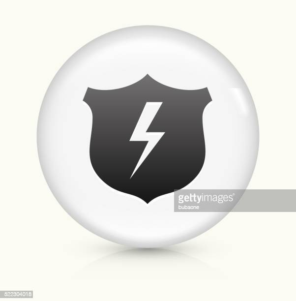 shield and lightning icon on white round vector button - safety american football player stock illustrations, clip art, cartoons, & icons