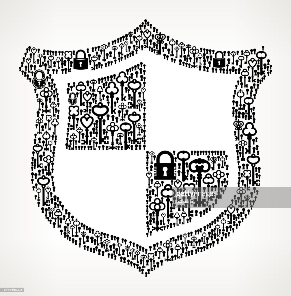 Shield  Antique Keys Black and White Vector Pattern : stock illustration