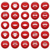 Shield badge icons set vetor red