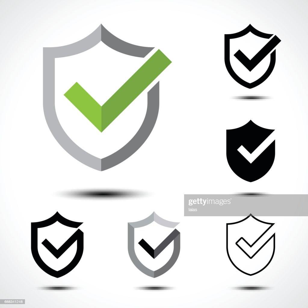 Shield check mark icon icon design template element
