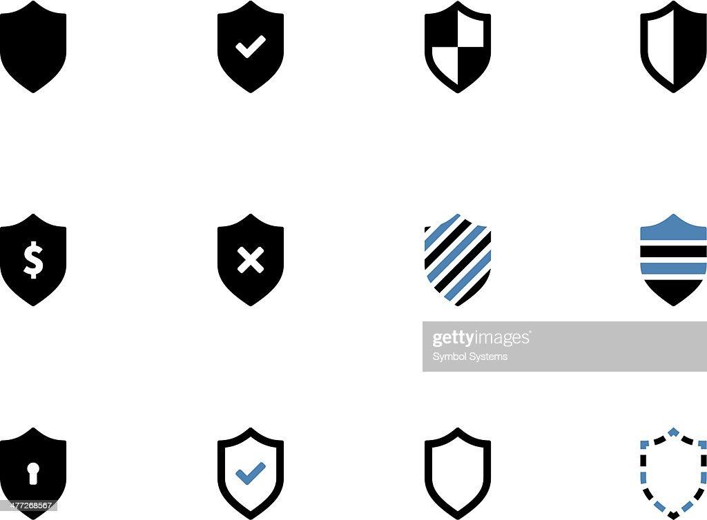 Shield duotone icons on white background.
