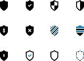 Shield duotone icons on white background.