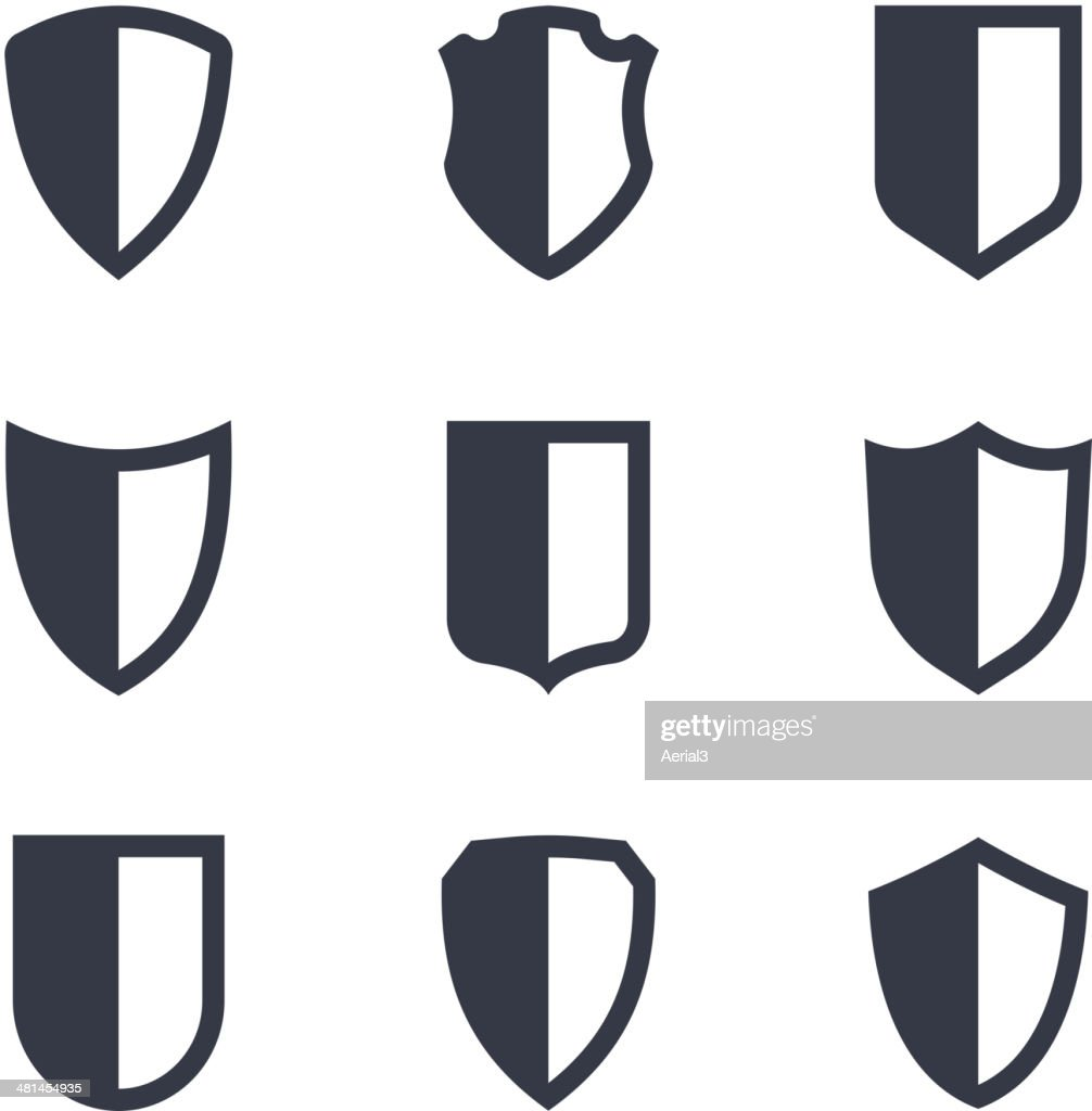 Shield frames simple icons set