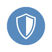 Shield icon in blue circle placed on transparent background