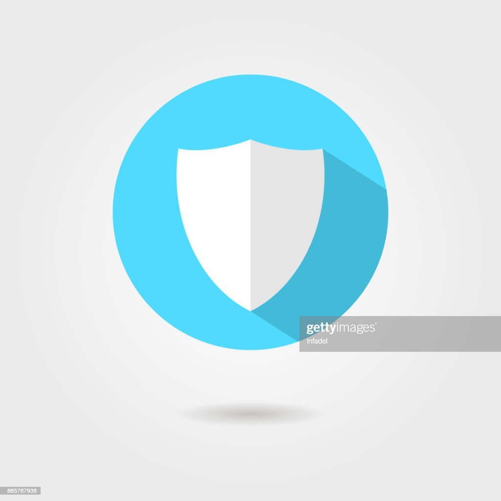 shield icon in blue circle with shadow
