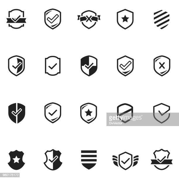 shield icon set - defending stock illustrations