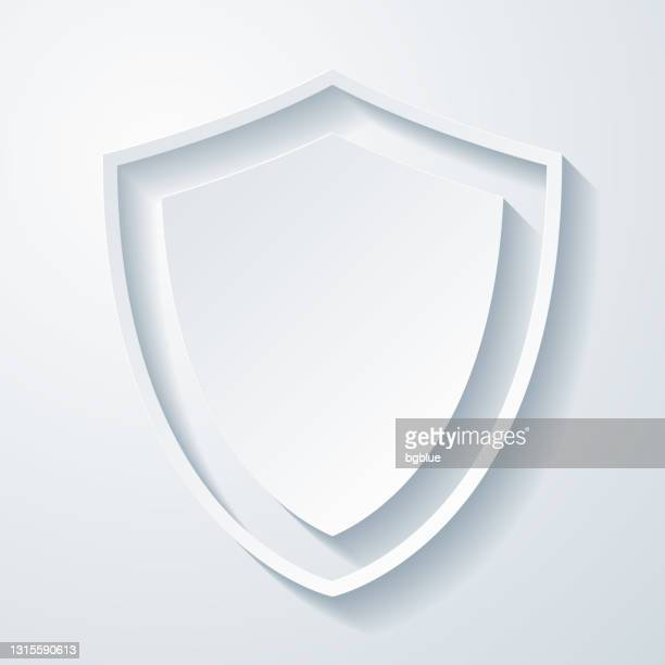 shield. icon with paper cut effect on blank background - weaponry stock illustrations