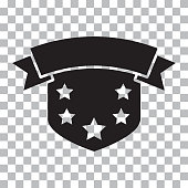 Shield icon with ribbon and stars. Black silhouette on transparent background. Vector illustration