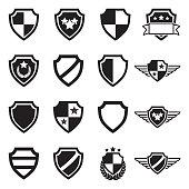Shield Icons. Black Flat Design. Vector Illustration.